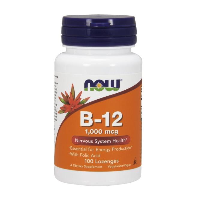 Vitamin B12 Lutschtabletten 1000mcg mit Folsäure 100mcg von NOW Foods