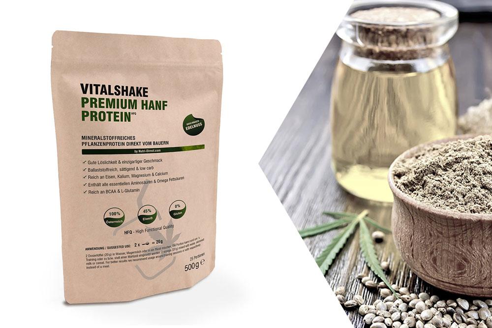 VitalShake Premium Hanf Protein HFQ 500g