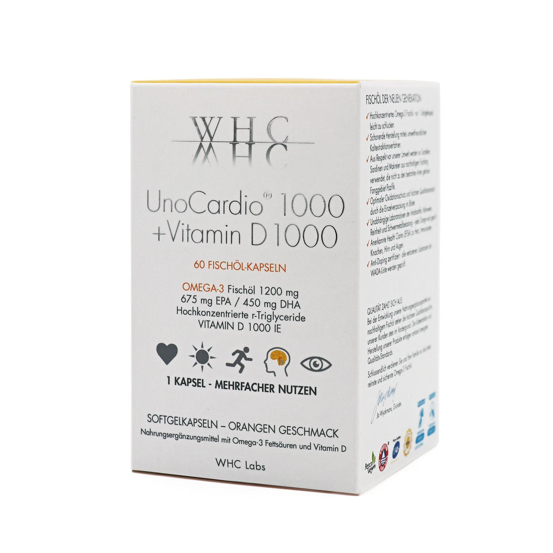 WHC UnoCardio 1000 + Vitamin D 1000 Omega-3 Kapseln, rTG