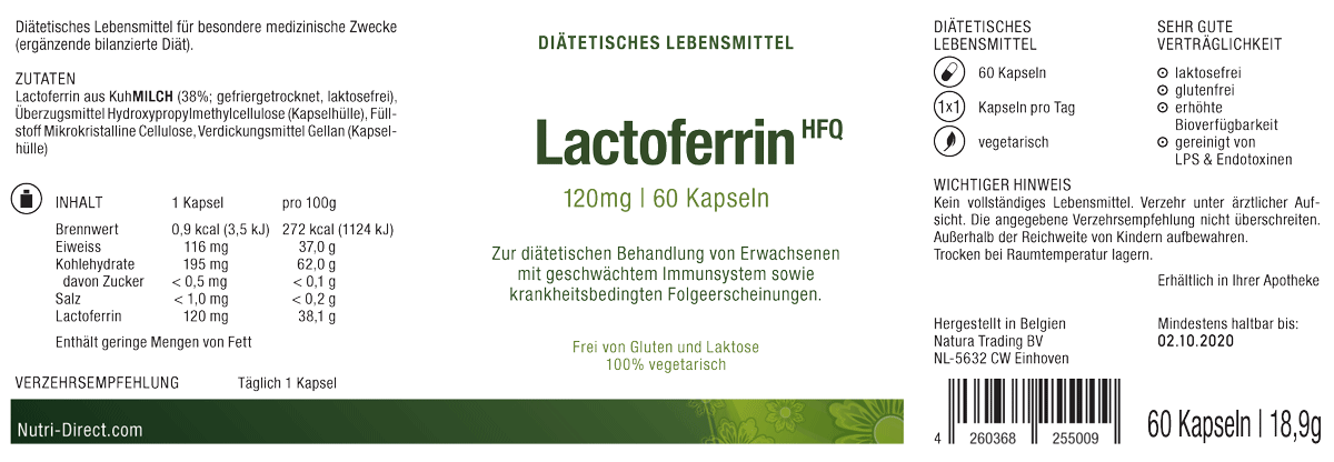 Lactoferrin 120mg Kapseln Etikett Einnahmeempfehlung und Dosierung